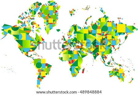 Abstract world map in green colors