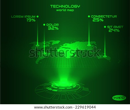 Abstract world map infographics. Vectpr eps10. - stock vector