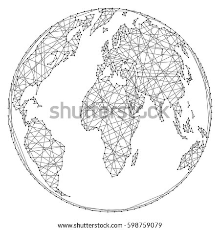 Abstract world map on globe ball stock vector hd royalty free abstract world map on a globe ball of polygonal lines and dots on a white background gumiabroncs Gallery