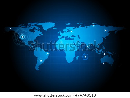 Abstract world map on dark blue background