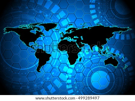 Abstract world map on digital technology background some Elements of this image furnished by NASA
