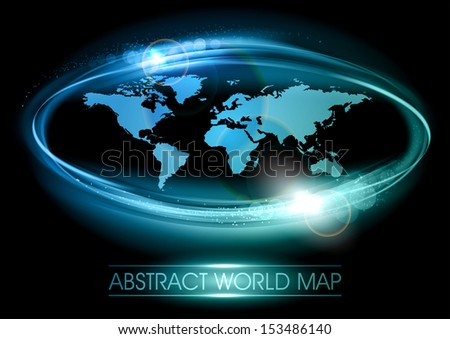 abstract world map on the black background - stock vector