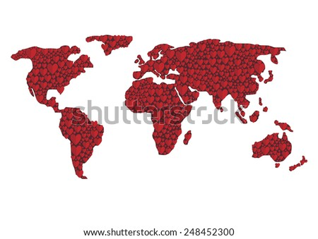 Abstract world map, red hearts. Valentine's Day concept - stock vector