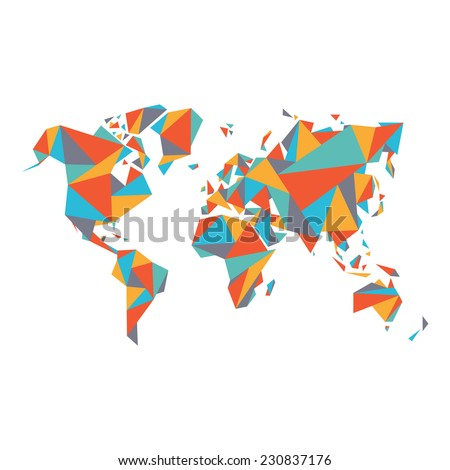 Abstract world map vector illustration geometric stock vector abstract world map vector illustration geometric structure in flat color for presentation booklet gumiabroncs Gallery