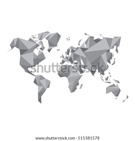 White origami world map world map vectores en stock 261091262 abstract world map vector illustration geometric structure in gray color for presentation booklet gumiabroncs Choice Image