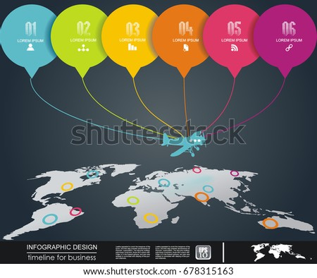 Abstract world map airplane color stickers stock vector 678315163 abstract world map with airplane and color stickers vector template for infographics website gumiabroncs Choice Image