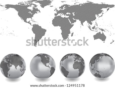 abstract world map with globes - stock vector