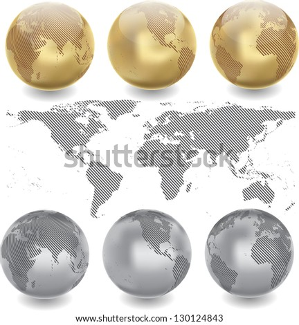 abstract world map with globes