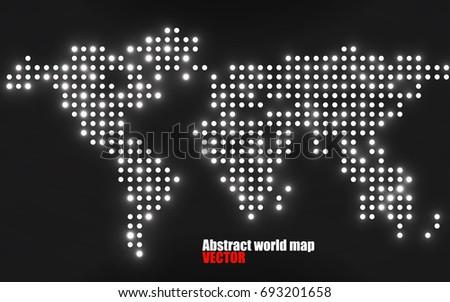 Abstract world map dots on black vectores en stock 701043490 abstract world map with glowing dots vector illustration eps 10 gumiabroncs Images