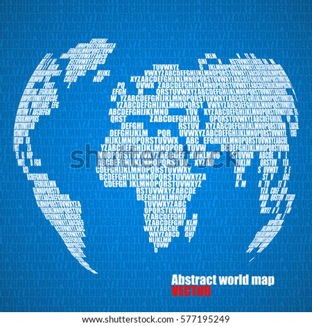 Abstract world map letters english alphabet stock vector 577195249 abstract world map with letters of english alphabet vector globe background gumiabroncs Images