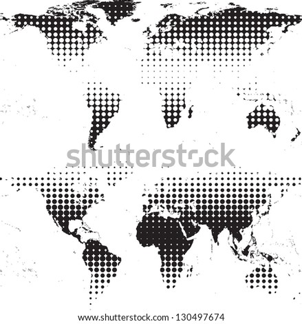 abstract world maps with halftones - stock vector