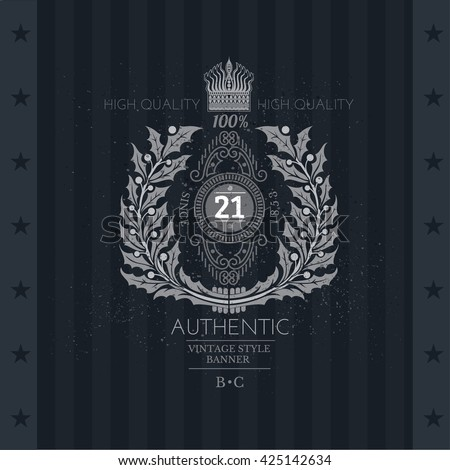 Abstract Wreath From Holly With Crown And Line Pattern Inside. Vintage Label On Blackboard - stock vector