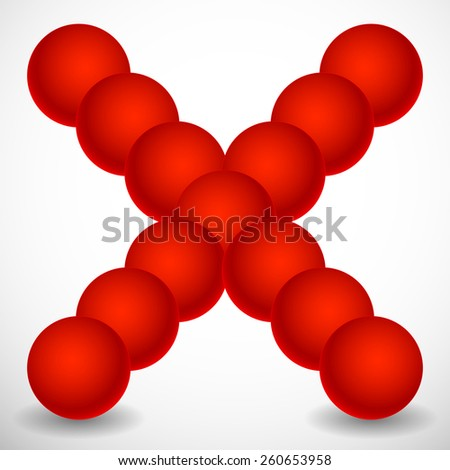 Abstract X Shape Made of Circles/Spheres - stock vector
