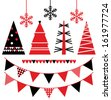 Abstract xmas trees and design elements isolated on white  - stock vector