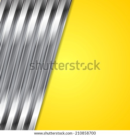 Abstract yellow and metallic vector background - stock vector