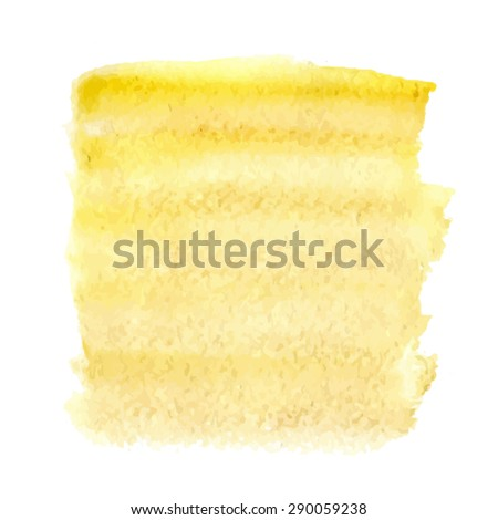 Abstract yellow background. Watercolor hand drawing. Vector illustration