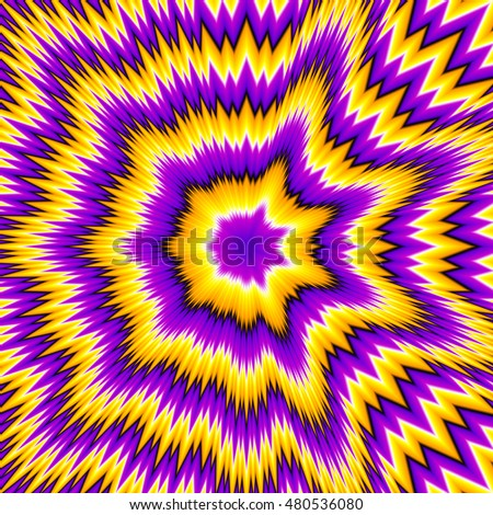 Abstract yellow background with asymmetric pattern (optical expansion illusion)