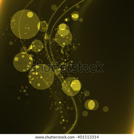 Abstract Yellow Bokeh vintage background and line. Vector illustration.