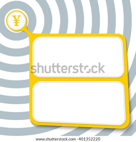 Abstract yellow box for your text and yen symbol - stock vector