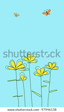 abstract yellow flowers with butterflies on a blue background - stock vector