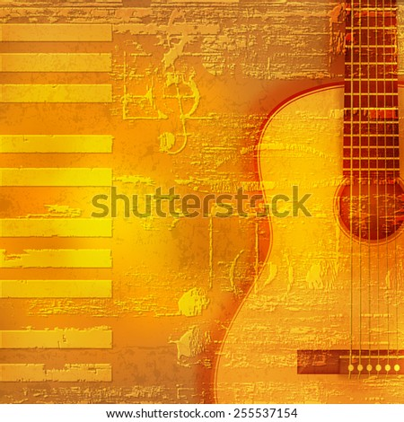 abstract yellow grunge piano background with acoustic guitar - stock vector