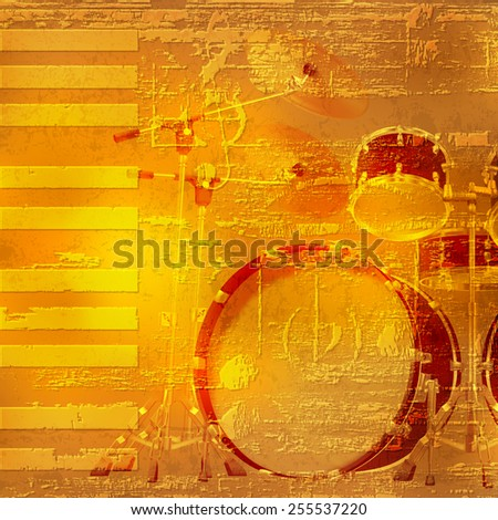 abstract yellow grunge piano background with drum kit - stock vector