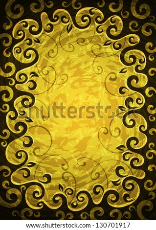 Abstract yellow grunge vector floral frame.