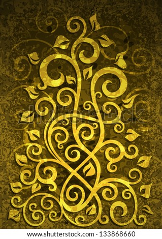 Abstract yellow grunge vector floral illustration.
