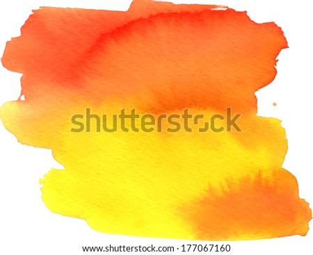 Abstract yellow-orange watercolor painted spot with blotches
