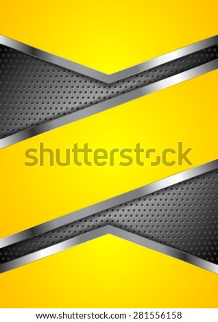 Abstract yellow perforated background with metallic design. Vector illustration - stock vector