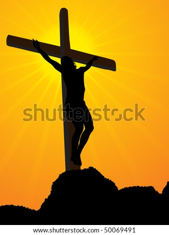 abstract yellow rays background with jesus in cross on mountain - stock vector