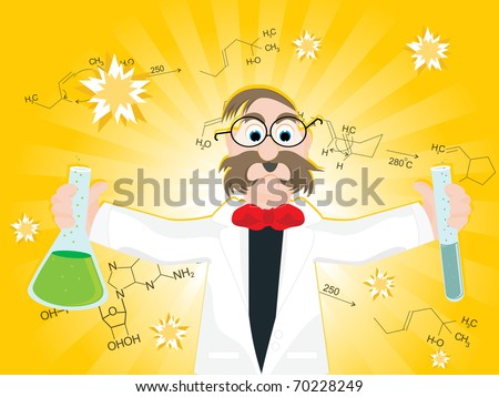 abstract yellow rays, chemical formula background with professor holding lab tube - stock vector
