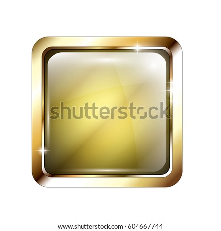 Abstract yellow rounded square background with a gold frame, with space for your text. Vector illustration.