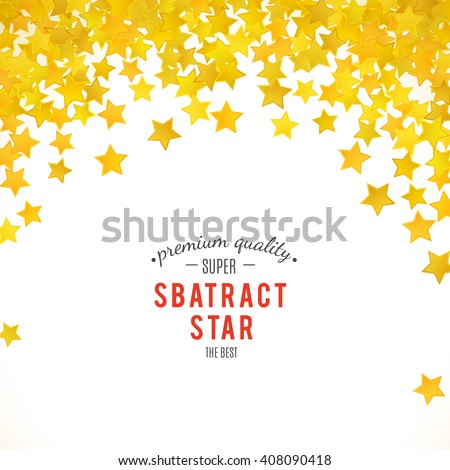 Abstract yellow star background. Vector illustration for achievement design. Greeting decoration border frame. Shine magic sign. Glitter celebration. Cool star wallpaper on white background.