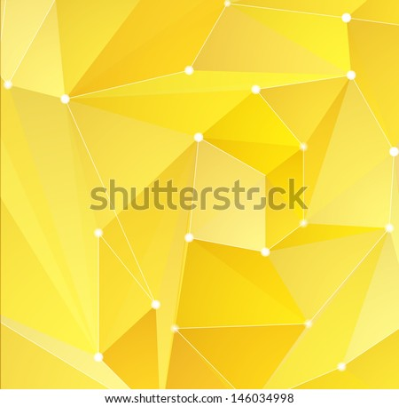 Abstract yellow triangle shapes background - stock vector