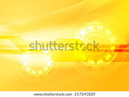 Abstract yellow wavy tech background. Vector design - stock vector