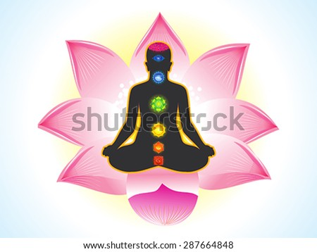 abstract yogi with lotus background vector illustration - stock vector