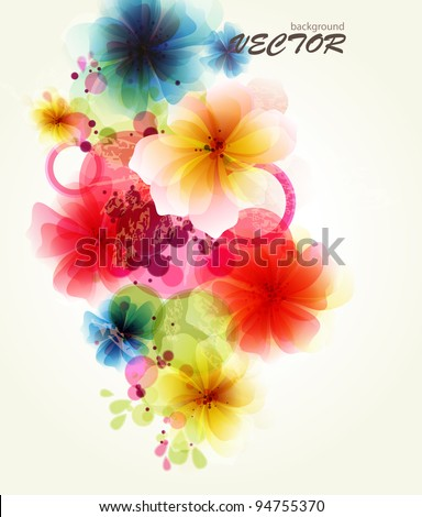 Abstraction floral background - stock vector