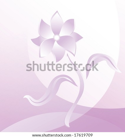 Abstraction floral design with one flower, vector illustration - stock vector