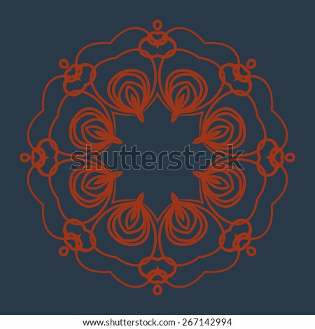 Abstraction floral lace pattern. Vector Lace Doily Design.  Round Vector Lace Design. - stock vector