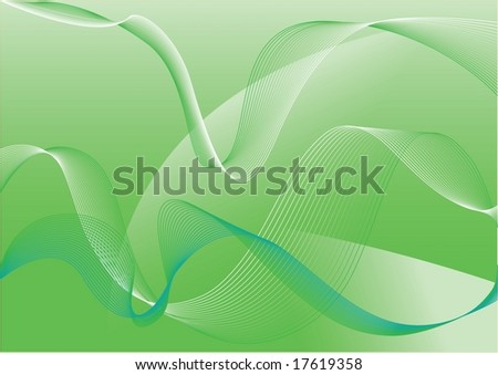 Abstraction green background with curved lines, vector illustration - stock vector
