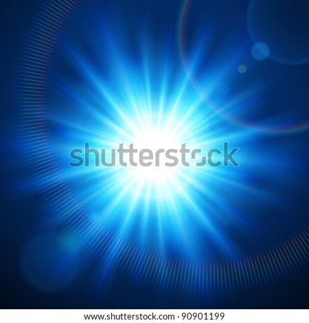 Abstraction light with lens flare vector background. Eps 10. - stock vector