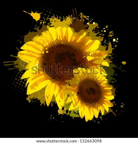 Abstraction of sunflowers - stock vector