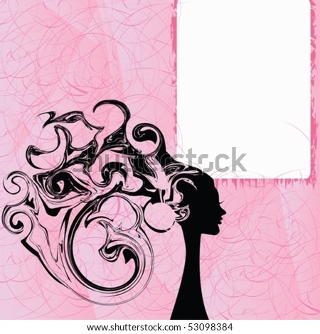 Abstraction of the woman with a banner for a writing of the personal text on a pink background