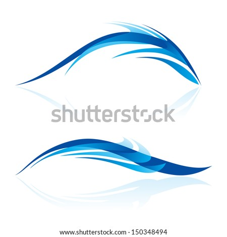 Abstraction of two elements in blue shades on white. Smooth lines and curves look like sea animals in abstract design. - stock vector