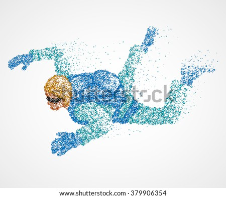 abstraction, parachutist, fly - stock vector