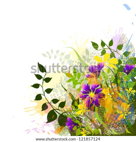 Abstraction with flowers - stock vector