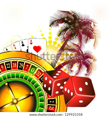 Abstraction with palms casino - stock vector