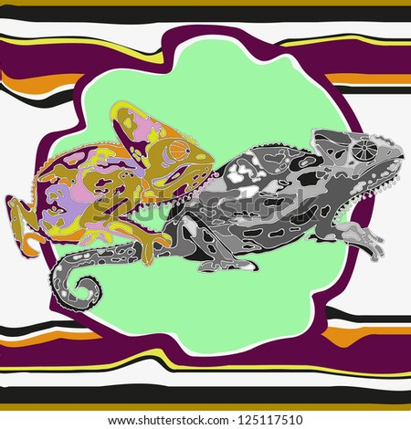 abstraction with two chameleons - stock vector