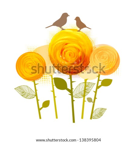 Abstraction with yellow roses and birds - stock vector